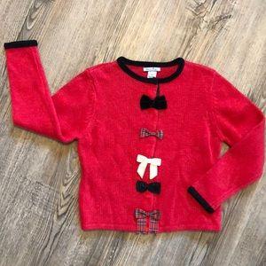 Hartstrings Girls Christmas Bow - Knit Sweater